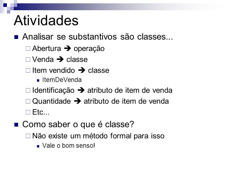 Atividades  Analisar se substantivos são classes...