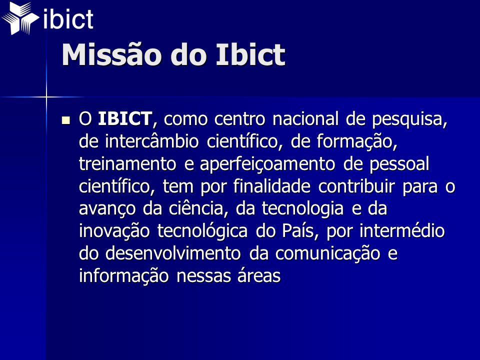 Missão do Ibict  O IBICT, como centro nacional de pesquisa, de intercâmbio científico, de formação, treinamento e aperfeiçoamento de pessoal científico, tem por finalidade contribuir para o avanço da ciência, da tecnologia e da inovação tecnológica do País, por intermédio do desenvolvimento da comunicação e informação nessas áreas