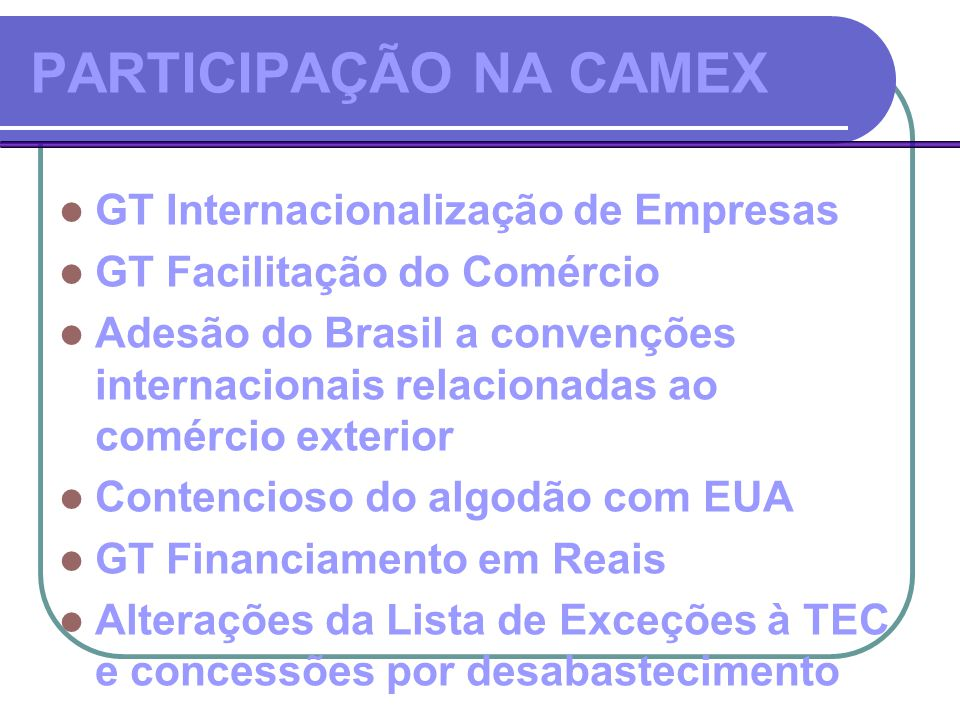 PARTICIPAÇÃO NA CAMEX  GT Internacionalização de Empresas  GT Facilitação do Comércio  Adesão do Brasil a convenções internacionais relacionadas ao comércio exterior  Contencioso do algodão com EUA  GT Financiamento em Reais  Alterações da Lista de Exceções à TEC e concessões por desabastecimento