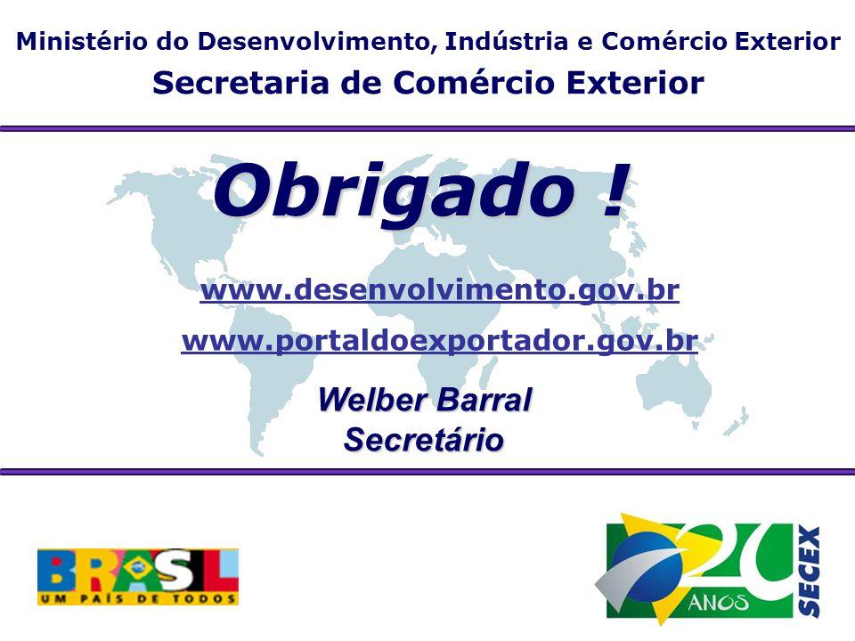 Ministério do Desenvolvimento, Indústria e Comércio Exterior Secretaria de Comércio Exterior Obrigado ! Welber Barral Secretário www.desenvolvimento.g
