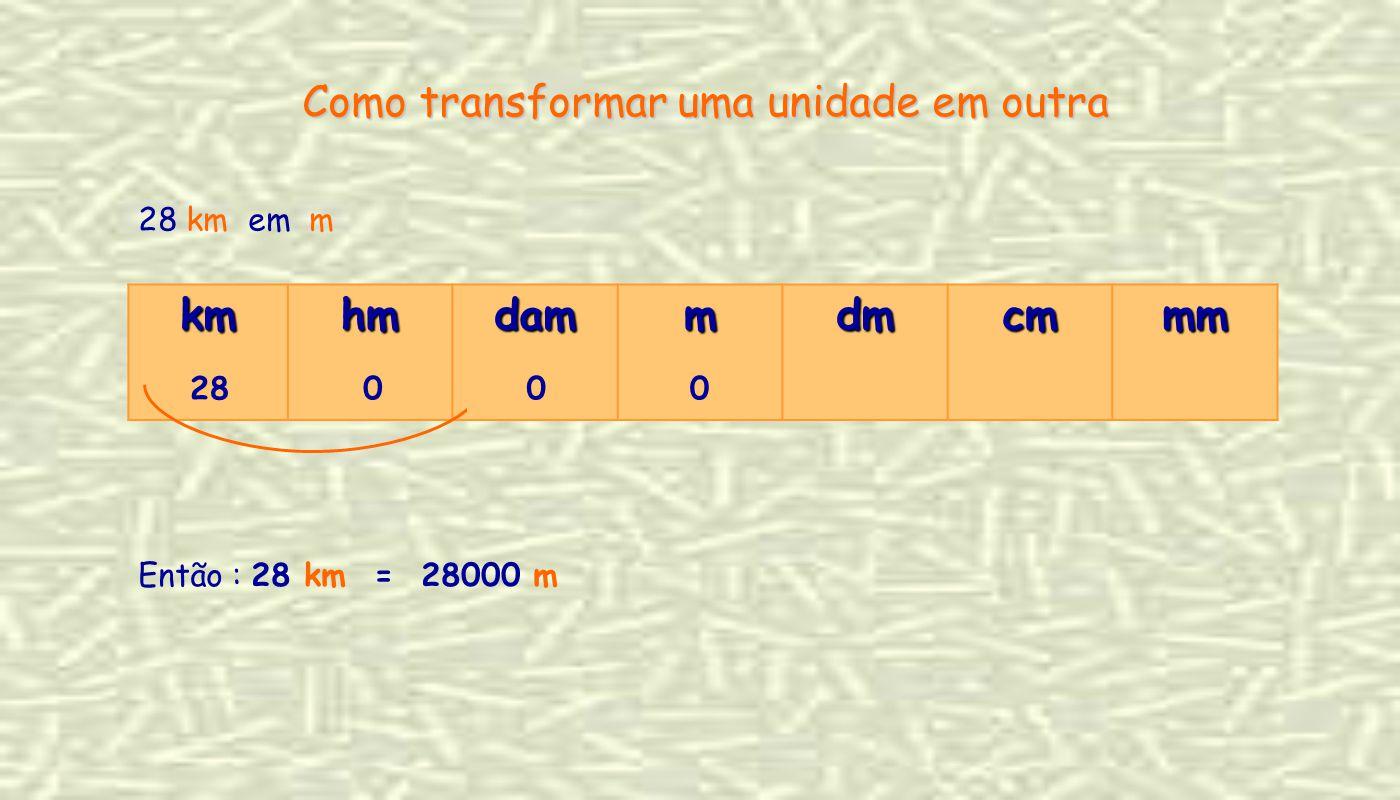 28 km em m kmhmdammdmcmmm 280 Como transformar uma unidade em outra 00 Então : 28 km = 28000 m