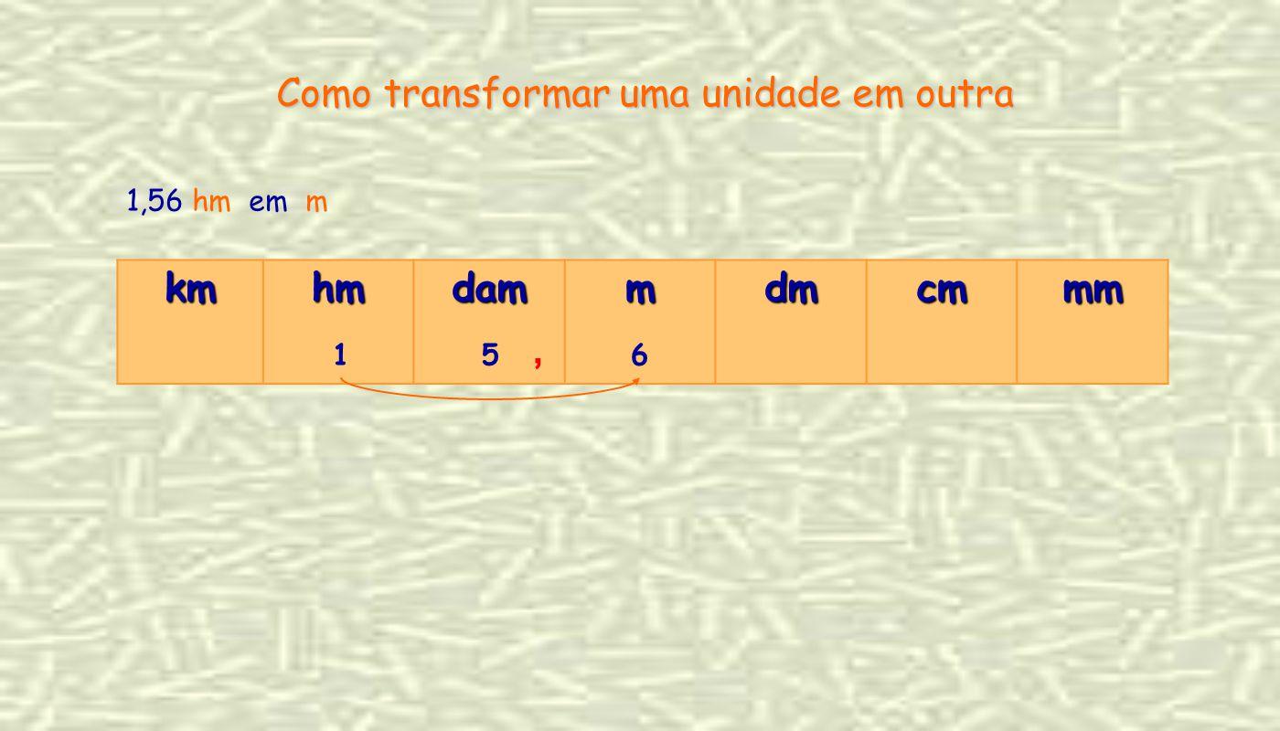 1,56 hm em m kmhmdammdmcmmm 156, Como transformar uma unidade em outra