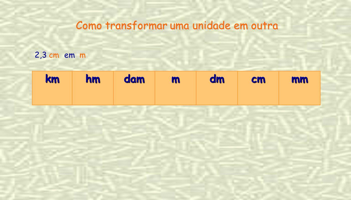 2,3 cm em m Como transformar uma unidade em outra kmhmdammdmcmmm