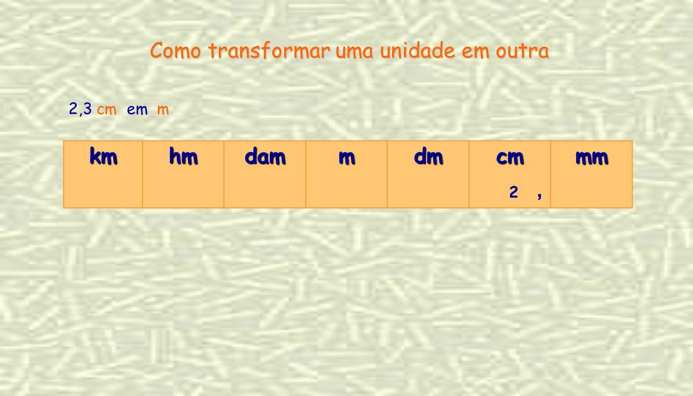 2,3 cm em m Como transformar uma unidade em outra kmhmdammdmcmmm 2,