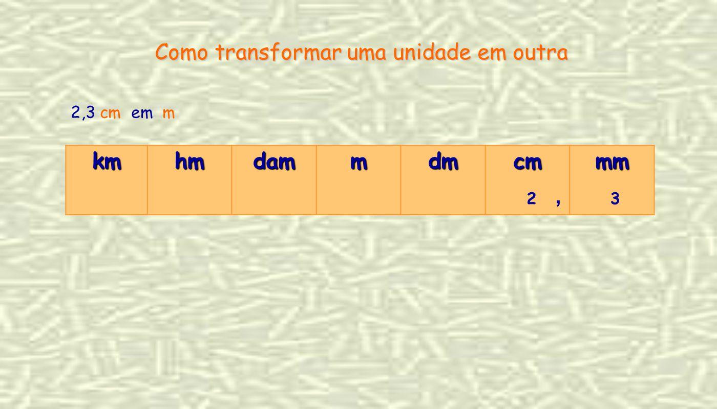 2,3 cm em m Como transformar uma unidade em outra kmhmdammdmcmmm 2, 3