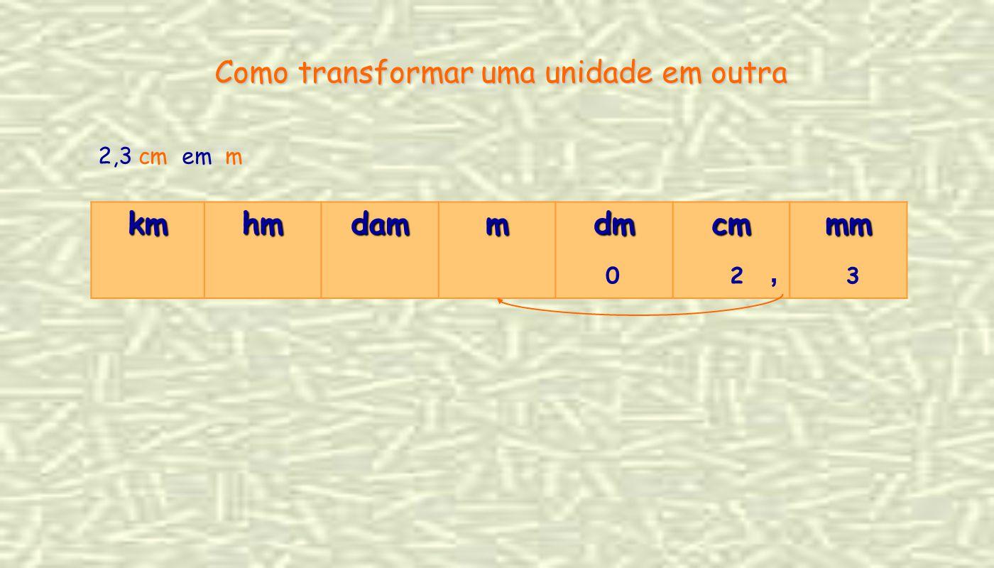 2,3 cm em m Como transformar uma unidade em outra kmhmdammdmcmmm 2, 30