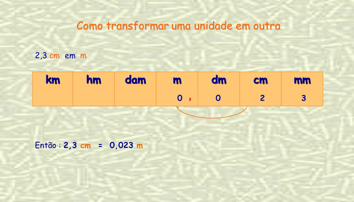 2,3 cm em m Como transformar uma unidade em outra kmhmdammdmcmmm 2300, Então : 2,3 cm = 0,023 m