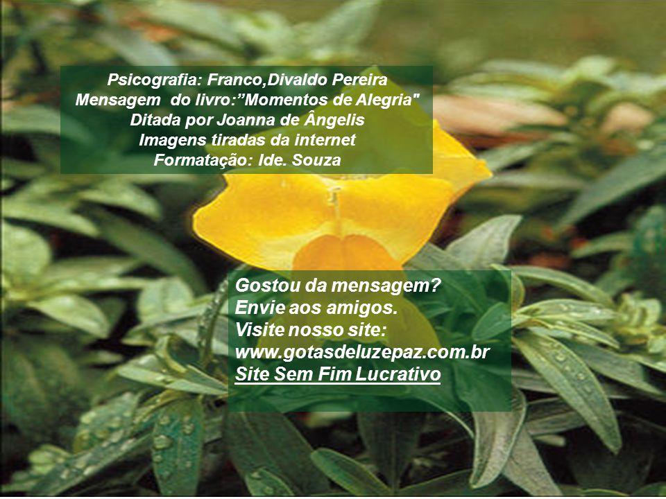 Psicografia: Franco,Divaldo Pereira Mensagem do livro: Momentos de Alegria Ditada por Joanna de Ângelis Imagens tiradas da internet Formatação: Ide.