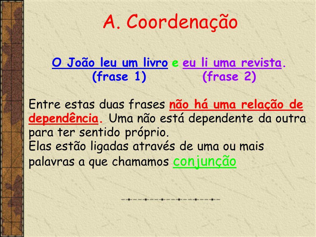 Assim, e de acordo com a relação que estabelecem através da conjunção, as orações coordenadas dividem-se em: •Copulativas •Adversativas •Disjuntivas •Conclusivas •Explicativas