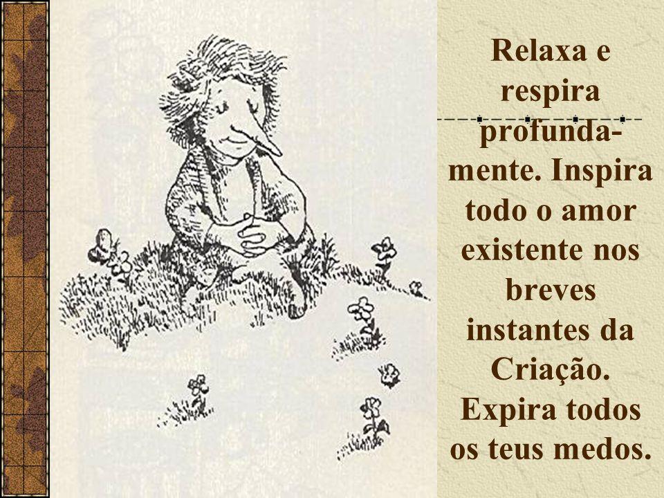 Relaxa e respira profunda- mente. Inspira todo o amor existente nos breves instantes da Criação. Expira todos os teus medos.
