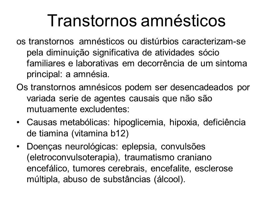 Transtornos amnésticos os transtornos amnésticos ou distúrbios caracterizam-se pela diminuição significativa de atividades sócio familiares e laborati
