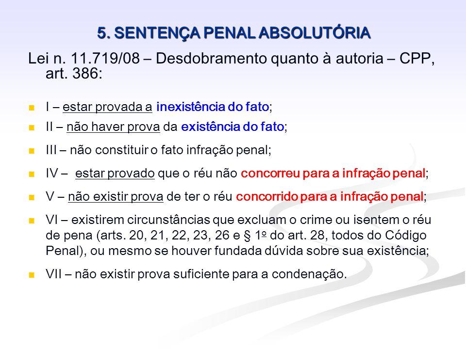 5. SENTENÇA PENAL ABSOLUTÓRIA Lei n. 11.719/08 – Desdobramento quanto à autoria – CPP, art. 386:   I – estar provada a inexistência do fato;   II