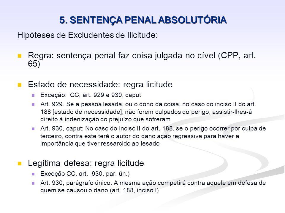 5. SENTENÇA PENAL ABSOLUTÓRIA Hipóteses de Excludentes de Ilicitude:   Regra: sentença penal faz coisa julgada no cível (CPP, art. 65)   Estado de