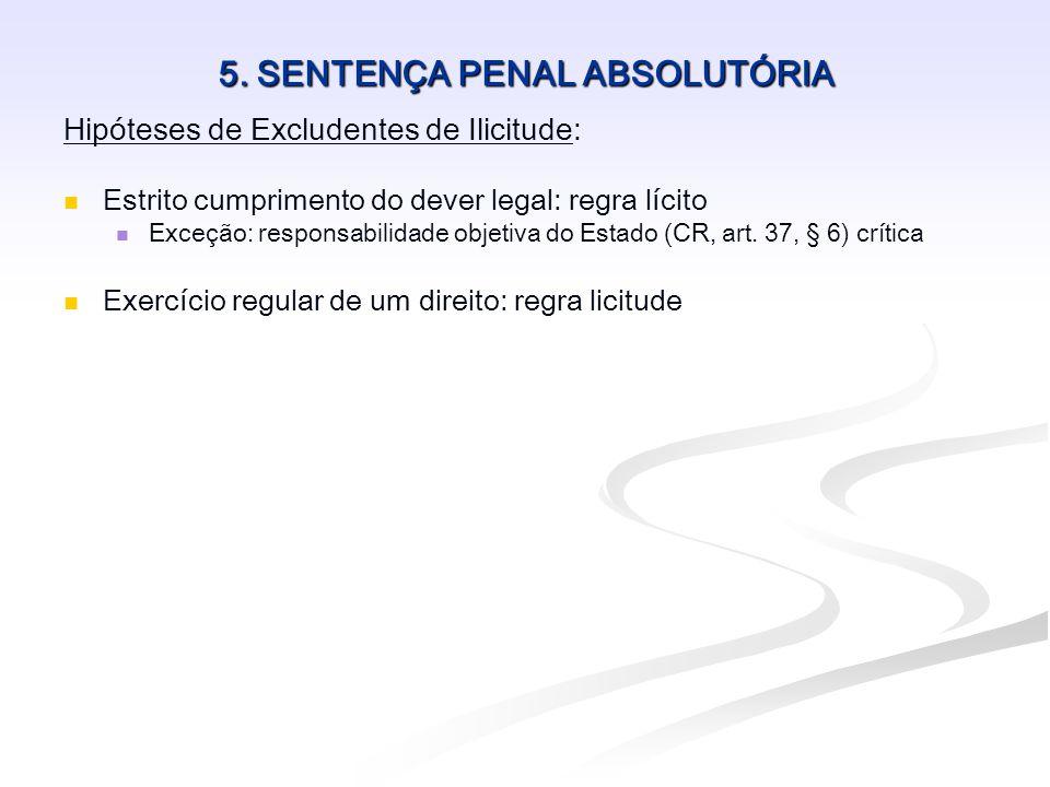 5. SENTENÇA PENAL ABSOLUTÓRIA Hipóteses de Excludentes de Ilicitude:   Estrito cumprimento do dever legal: regra lícito   Exceção: responsabilidad