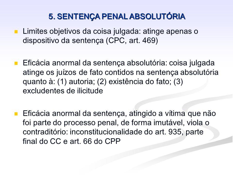 5. SENTENÇA PENAL ABSOLUTÓRIA   Limites objetivos da coisa julgada: atinge apenas o dispositivo da sentença (CPC, art. 469)   Eficácia anormal da
