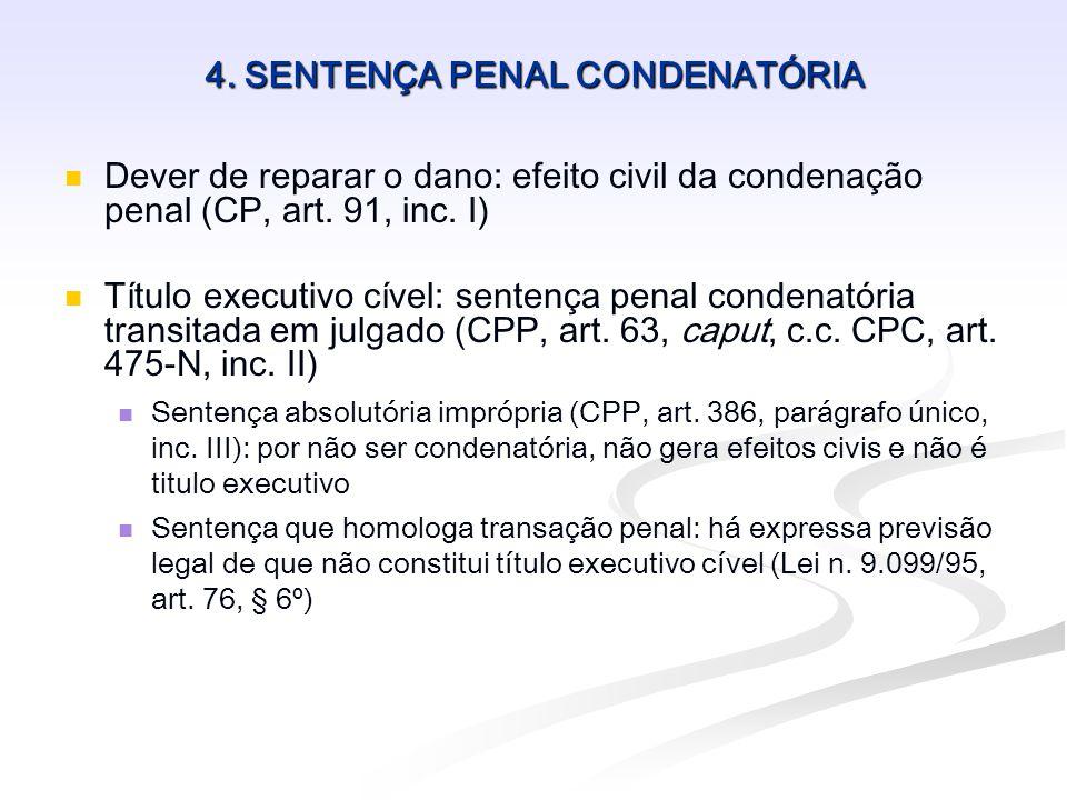 4. SENTENÇA PENAL CONDENATÓRIA   Dever de reparar o dano: efeito civil da condenação penal (CP, art. 91, inc. I)   Título executivo cível: sentenç