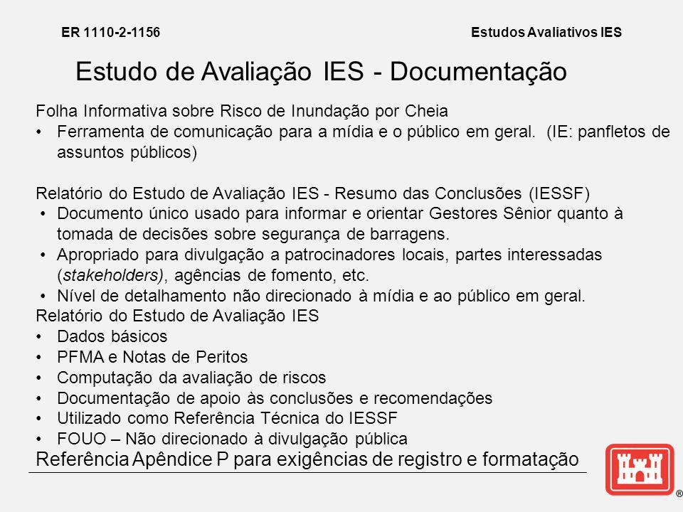 ER 1110-2-1156Estudos Avaliativos IES Estudo de Avaliação IES - Documentação Folha Informativa sobre Risco de Inundação por Cheia •Ferramenta de comunicação para a mídia e o público em geral.