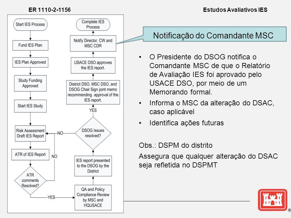 Notificação do Comandante MSC ER 1110-2-1156 Estudos Avaliativos IES •O Presidente do DSOG notifica o Comandante MSC de que o Relatório de Avaliação IES foi aprovado pelo USACE DSO, por meio de um Memorando formal.