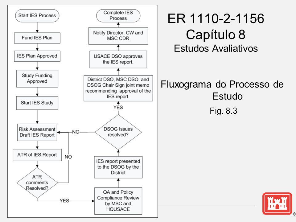 Estudo de Avaliação IES Concluído ER 1110-2-1156 Estudos Avaliativos IES Para projetos em que o Estudo de Modificação de Segurança de Barragem é justificado; •o projeto é priorizado com base no risco apresentado e entra na fila, à espera de financiamento do DSMS.