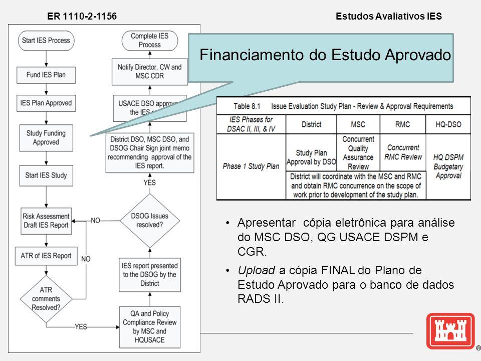 Financiamento do Estudo Aprovado •Apresentar cópia eletrônica para análise do MSC DSO, QG USACE DSPM e CGR.
