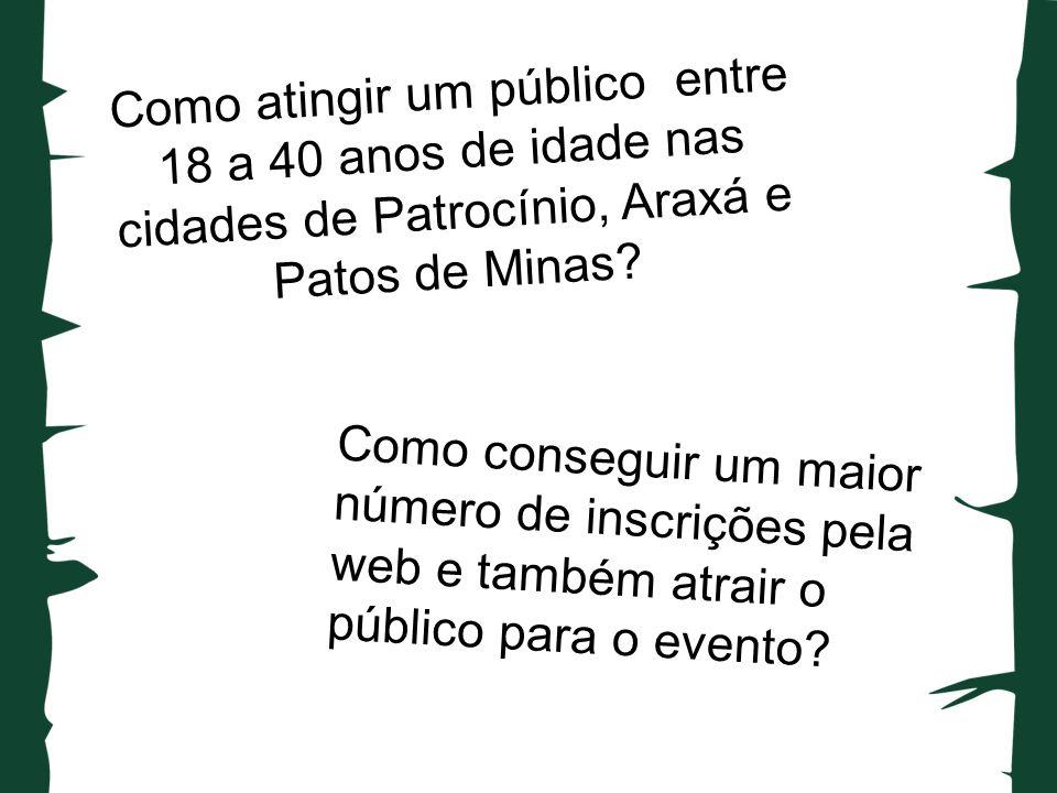 Como atingir um público entre 18 a 40 anos de idade nas cidades de Patrocínio, Araxá e Patos de Minas.