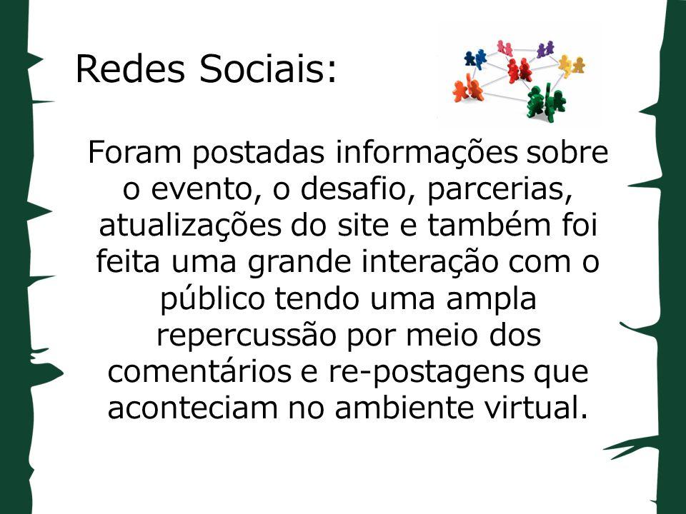 Redes Sociais: Foram postadas informações sobre o evento, o desafio, parcerias, atualizações do site e também foi feita uma grande interação com o público tendo uma ampla repercussão por meio dos comentários e re-postagens que aconteciam no ambiente virtual.