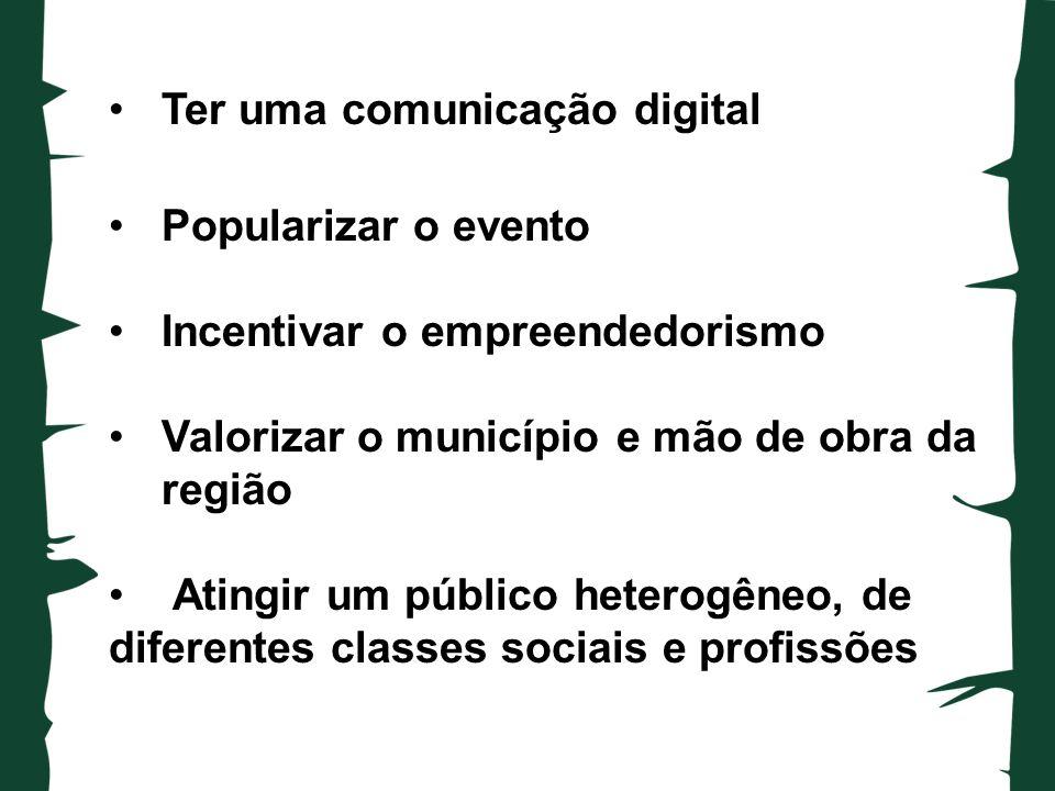 •Ter uma comunicação digital •Popularizar o evento •Incentivar o empreendedorismo •Valorizar o município e mão de obra da região • Atingir um público heterogêneo, de diferentes classes sociais e profissões