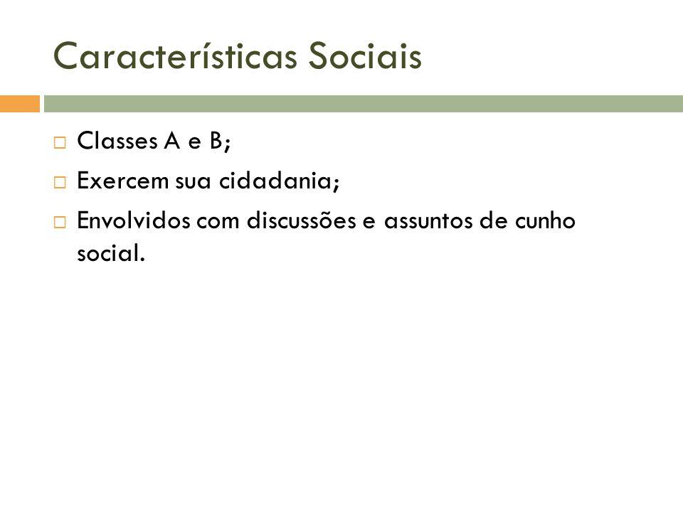 Características Sociais  Classes A e B;  Exercem sua cidadania;  Envolvidos com discussões e assuntos de cunho social.