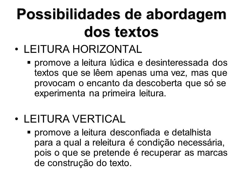 Possibilidades de abordagem dos textos •LEITURA HORIZONTAL  promove a leitura lúdica e desinteressada dos textos que se lêem apenas uma vez, mas que