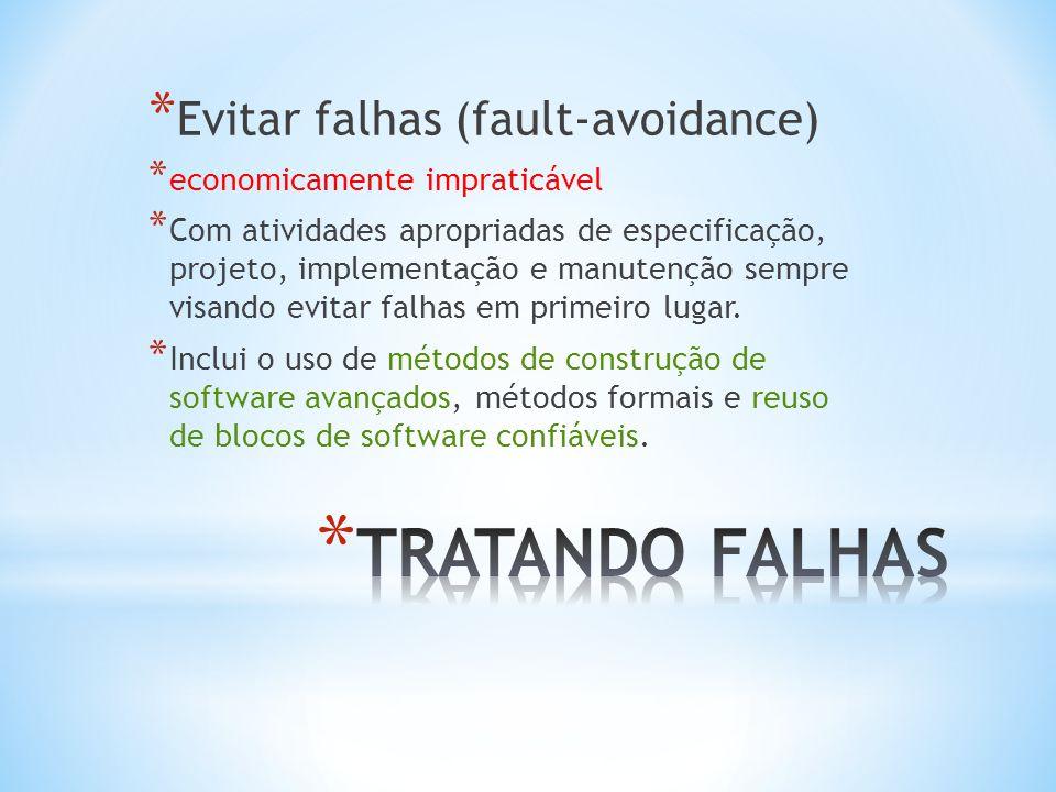* Eliminar falhas (fault- elimination) * Compensação analítica de erros cometidos durante a especificação, * Projeto e implementação.