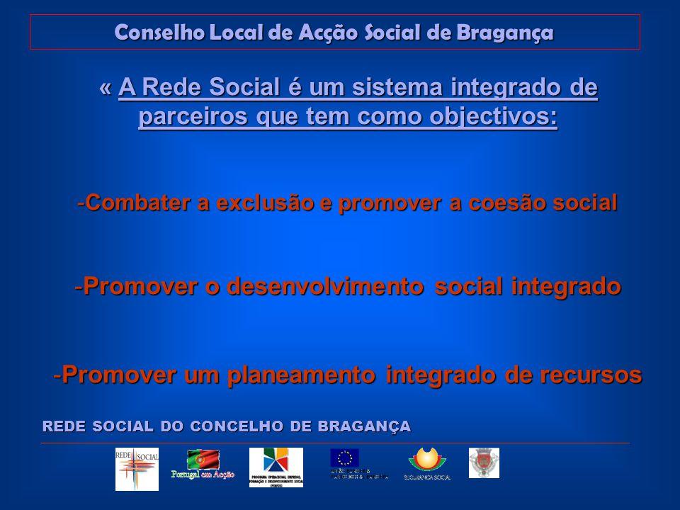 Conselho Local de Acção Social de Bragança REDE SOCIAL DO CONCELHO DE BRAGANÇA -Garantir maior eficácia e melhor cobertura e ordenamento do conjunto de respostas dos equipamentos sociais a nível local -Criar canais regulares de comunicação e informação.