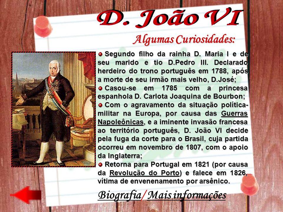 Algumas Curiosidades: Segundo filho da rainha D. Maria I e de seu marido e tio D.Pedro III. Declarado herdeiro do trono português em 1788, após a mort