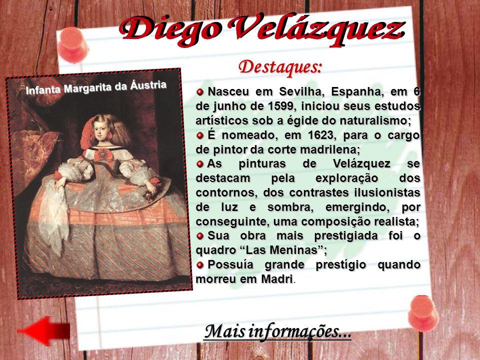 Destaques: Nasceu em Sevilha, Espanha, em 6 de junho de 1599, iniciou seus estudos artísticos sob a égide do naturalismo; Nasceu em Sevilha, Espanha,