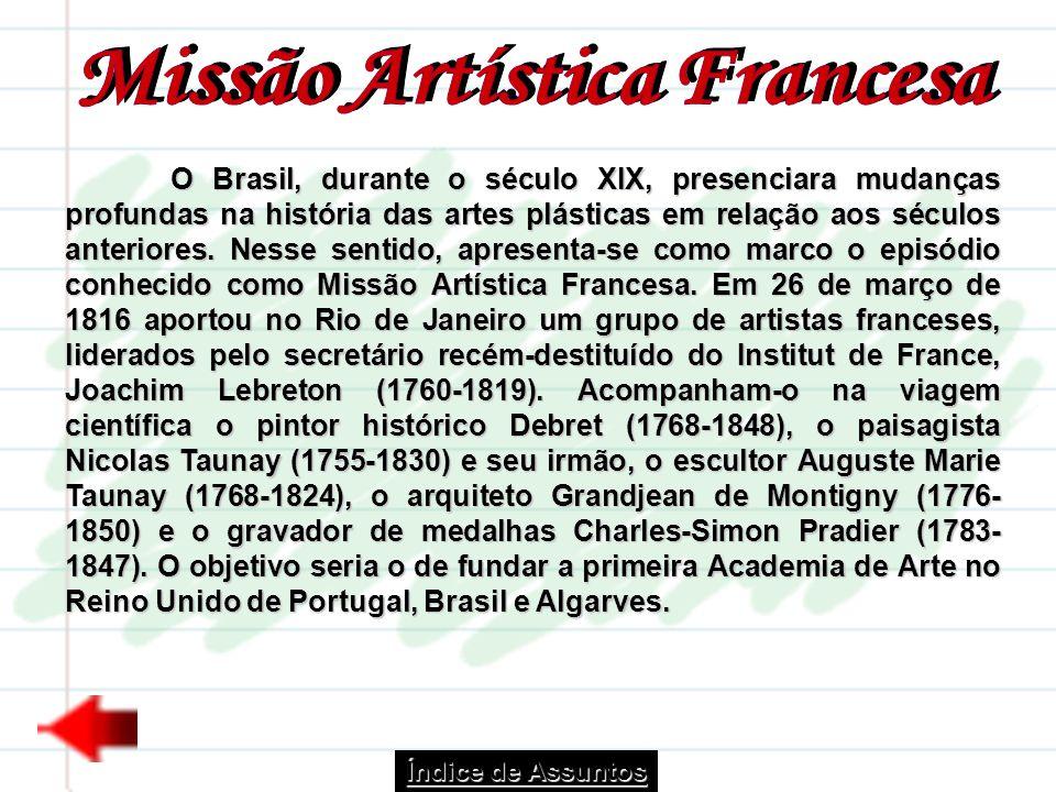 O Brasil, durante o século XIX, presenciara mudanças profundas na história das artes plásticas em relação aos séculos anteriores. Nesse sentido, apres