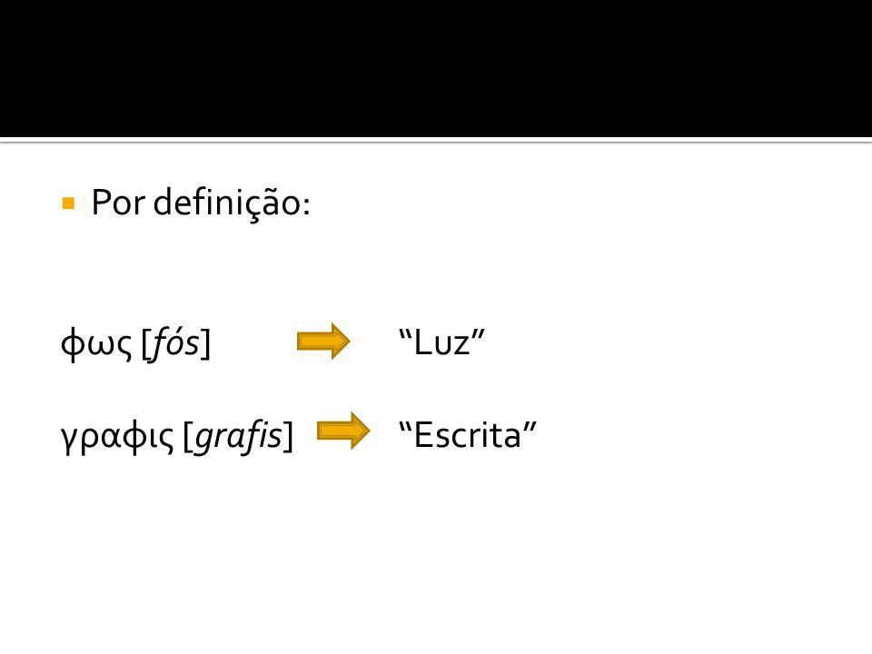  Por definição: φως [fós] Luz γραφις [grafis] Escrita A arte de Escrever com Luz