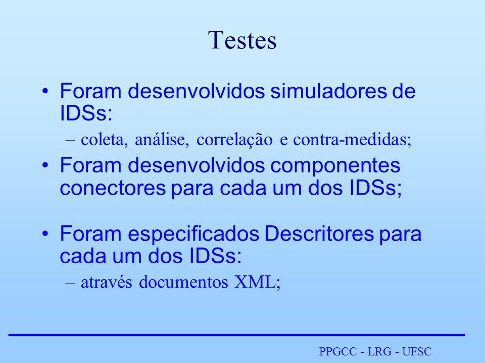 PPGCC - LRG - UFSC Testes •Foram desenvolvidos simuladores de IDSs: –coleta, análise, correlação e contra-medidas; •Foram desenvolvidos componentes conectores para cada um dos IDSs; •Foram especificados Descritores para cada um dos IDSs: –através documentos XML;
