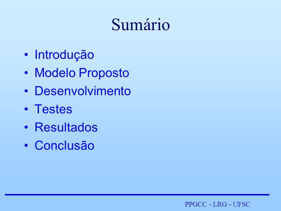 PPGCC - LRG - UFSC Sumário •Introdução •Modelo Proposto •Desenvolvimento •Testes •Resultados •Conclusão