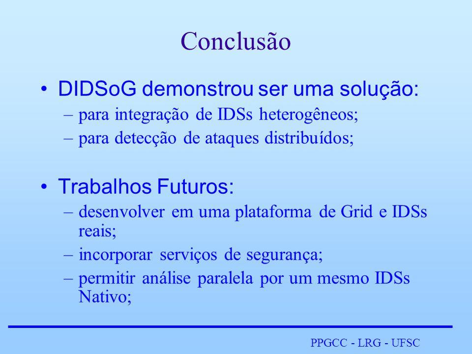 PPGCC - LRG - UFSC Conclusão •DIDSoG demonstrou ser uma solução: –para integração de IDSs heterogêneos; –para detecção de ataques distribuídos; •Trabalhos Futuros: –desenvolver em uma plataforma de Grid e IDSs reais; –incorporar serviços de segurança; –permitir análise paralela por um mesmo IDSs Nativo;
