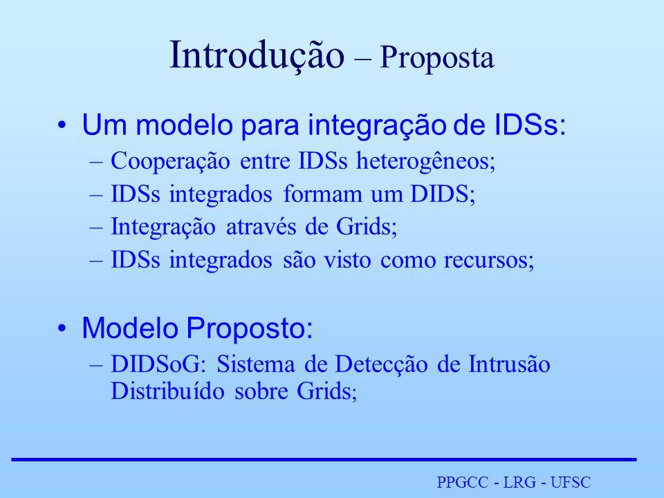PPGCC - LRG - UFSC Introdução – Proposta •Um modelo para integração de IDSs: –Cooperação entre IDSs heterogêneos; –IDSs integrados formam um DIDS; –Integração através de Grids; –IDSs integrados são visto como recursos; •Modelo Proposto: –DIDSoG: Sistema de Detecção de Intrusão Distribuído sobre Grids ;
