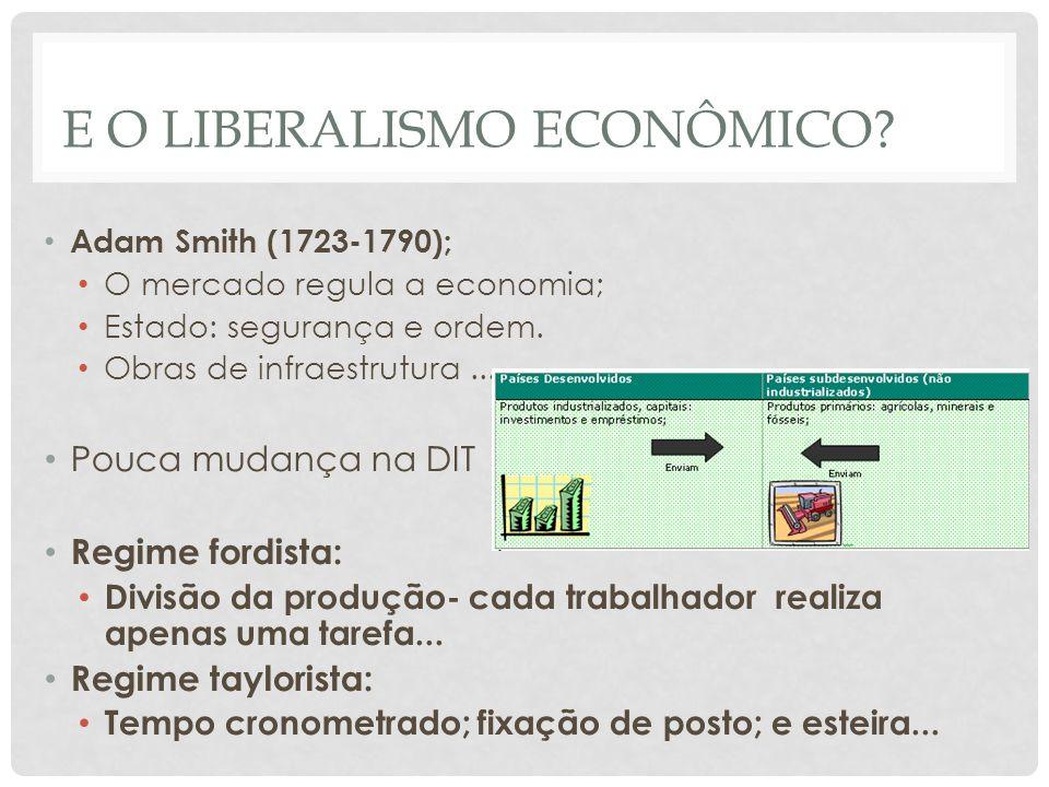 E O LIBERALISMO ECONÔMICO? • Adam Smith (1723-1790); • O mercado regula a economia; • Estado: segurança e ordem. • Obras de infraestrutura... • Pouca