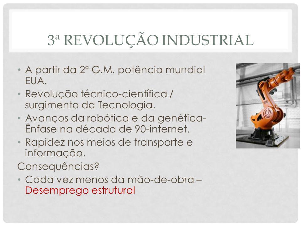 3ª REVOLUÇÃO INDUSTRIAL • A partir da 2ª G.M. potência mundial EUA. • Revolução técnico-científica / surgimento da Tecnologia. • Avanços da robótica e