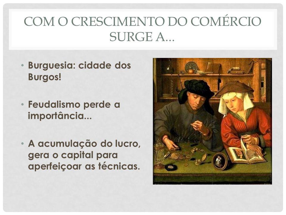 COM O CRESCIMENTO DO COMÉRCIO SURGE A... • Burguesia: cidade dos Burgos! • Feudalismo perde a importância... • A acumulação do lucro, gera o capital p