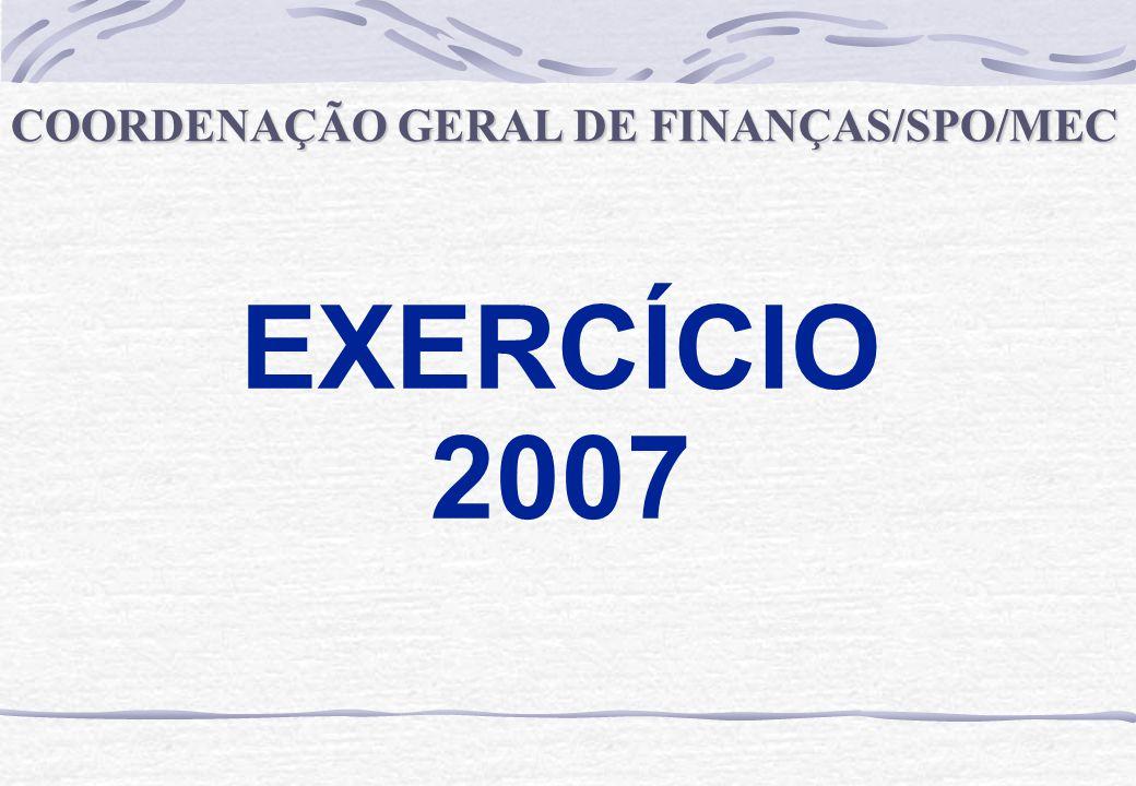 EXERCÍCIO 2007 COORDENAÇÃO GERAL DE FINANÇAS/SPO/MEC