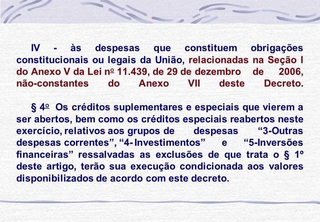 IV - às despesas que constituem obrigações constitucionais ou legais da União, relacionadas na Seção I do Anexo V da Lei n o 11.439, de 29 de dezembro