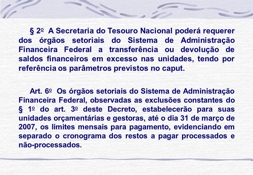 § 2 o A Secretaria do Tesouro Nacional poderá requerer dos órgãos setoriais do Sistema de Administração Financeira Federal a transferência ou devoluçã