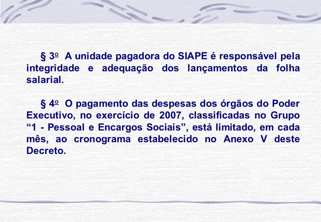 § 3 o A unidade pagadora do SIAPE é responsável pela integridade e adequação dos lançamentos da folha salarial. § 4 o O pagamento das despesas dos órg