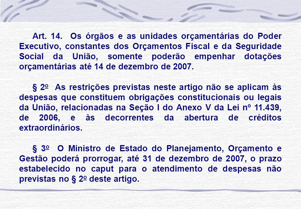 Art. 14. Os órgãos e as unidades orçamentárias do Poder Executivo, constantes dos Orçamentos Fiscal e da Seguridade Social da União, somente poderão e
