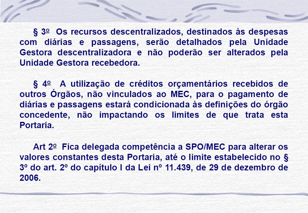 § 3 o Os recursos descentralizados, destinados às despesas com diárias e passagens, serão detalhados pela Unidade Gestora descentralizadora e não pode