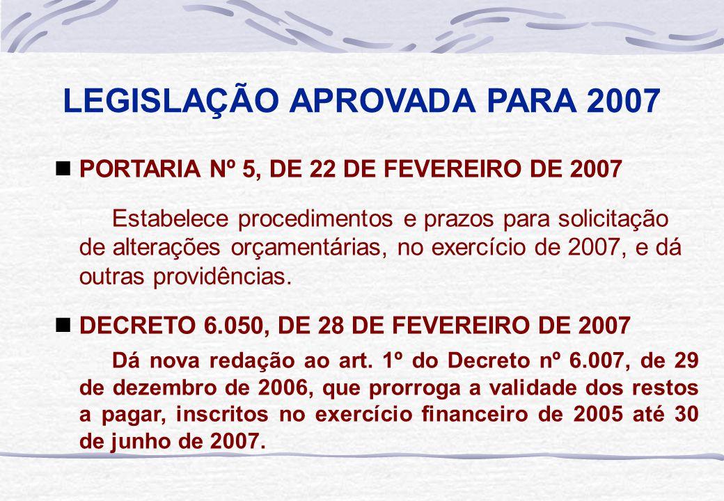 LEGISLAÇÃO APROVADA PARA 2007  PORTARIA Nº 5, DE 22 DE FEVEREIRO DE 2007 Estabelece procedimentos e prazos para solicitação de alterações orçamentári