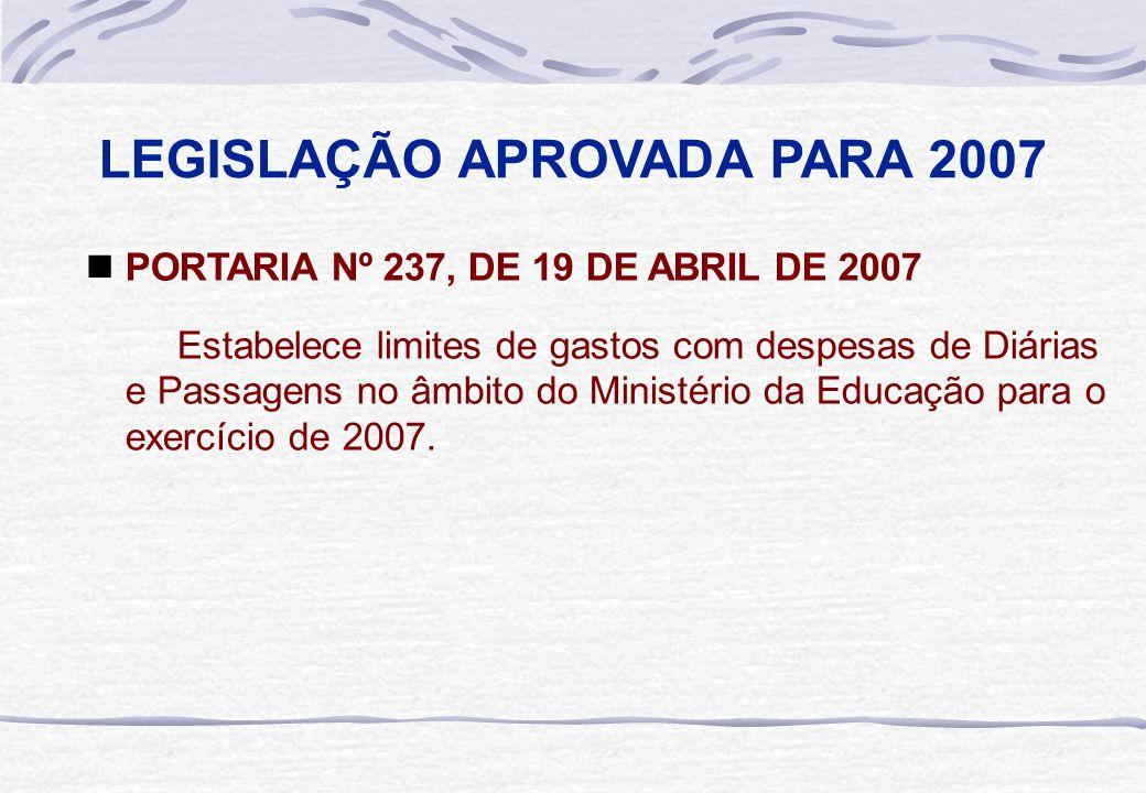 LEGISLAÇÃO APROVADA PARA 2007  PORTARIA Nº 237, DE 19 DE ABRIL DE 2007 Estabelece limites de gastos com despesas de Diárias e Passagens no âmbito do